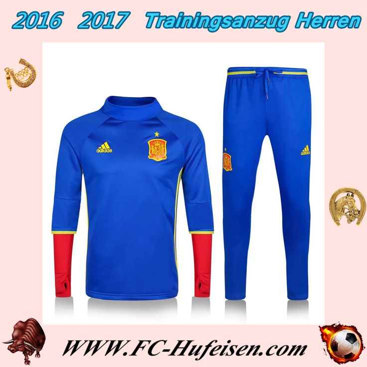 Schönsten Trainingsanzüge Fussball Herren Kits Spanien Blau Saison 2016 2017 Günstig Kaufen Shop
