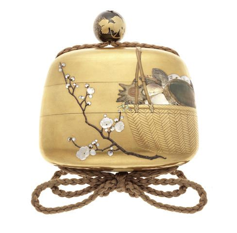 A gold lacquer inlaid broad two-case inro By Masaharu, Meiji Period