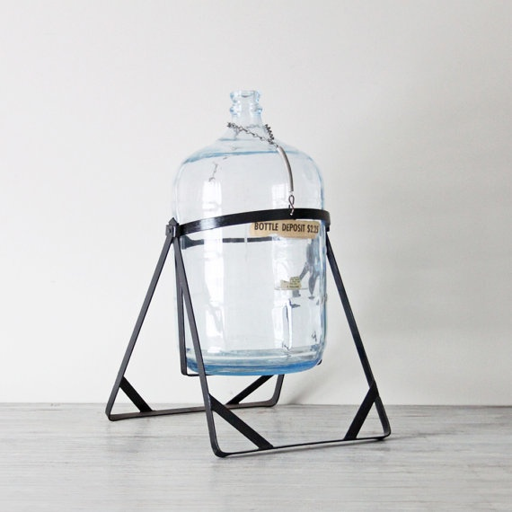 Glass Carboy With Iron Stand Coins Bottle Holders And