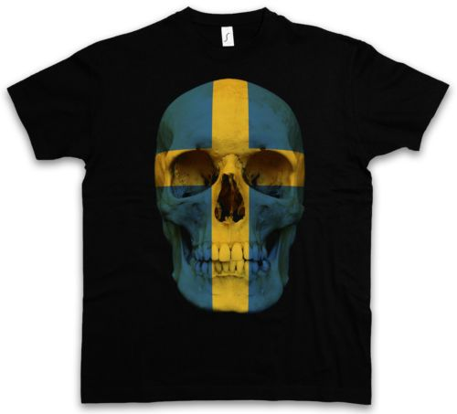 CLASSIC-SWEDEN-SKULL-FLAG-T-SHIRT-Totenkopf-Schaedel-Banner-Fahne-Schweden