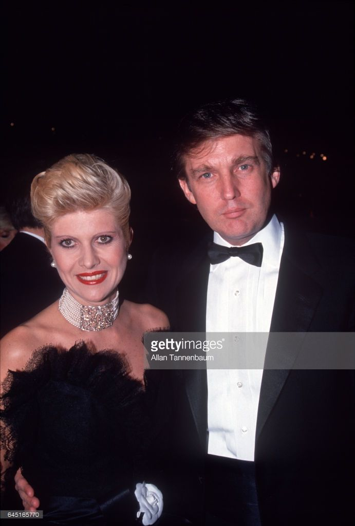 Portrait of married couple Ivana (nee Zelnickova) and Donald Trump as they attend a fashion event (for designer Christian Lacroix), New York, New York, October 10, 1987.
