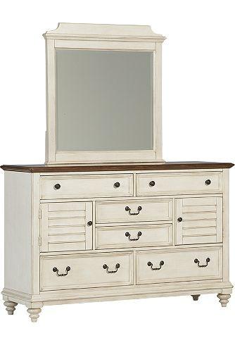 Bedroom Furniture, Southport Dresser/Mirror - Distressed White, Bedroom Furniture | Havertys Furniture
