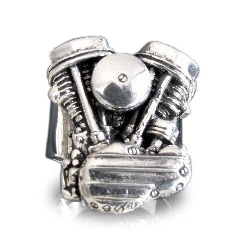 Silver HARLEY DAVIDSON RING Panhead Engine Biker Ring Twin Head Mc – Size 24.25   bikeraa.com