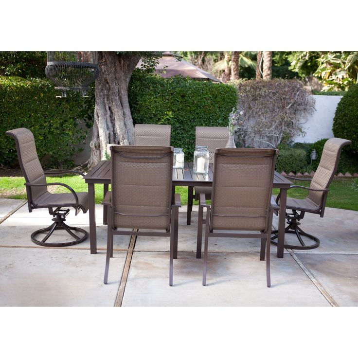 Coral Coast Del Rey Deluxe Padded Sling Aluminum Table Dining Set - Seats 6 - Patio Dining Sets at Hayneedle