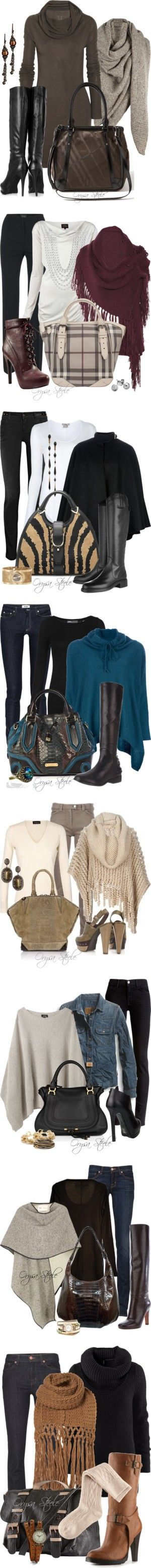 A Shawl for Fall by orysa on Polyvore featuring AllSaints, Rick Owens, DKNY, Burberry, Avindy, nordstrom allsaints, Piazza Sempione, Vivienne Westwood Anglomania, Bakers and Valentino