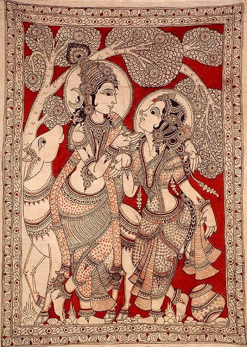 Kalamkari Art Krishna And Radha Gaze Into Each Others Eyes Part 88