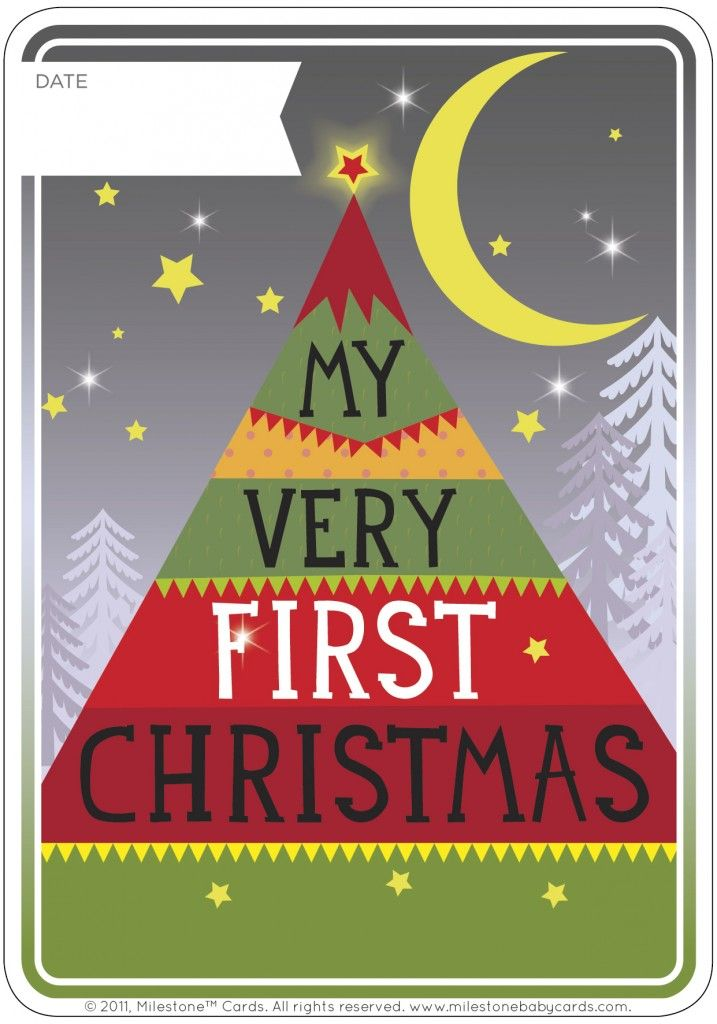 My First Christmas Free Printable Card by Milestone Baby Card. Baby First Christmas.