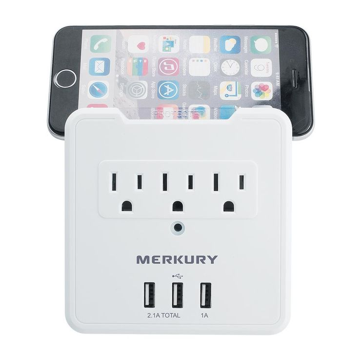 merkury innovations 3 ac outlet and 3 usb 3 1 amp wall on usb wall charger id=92053