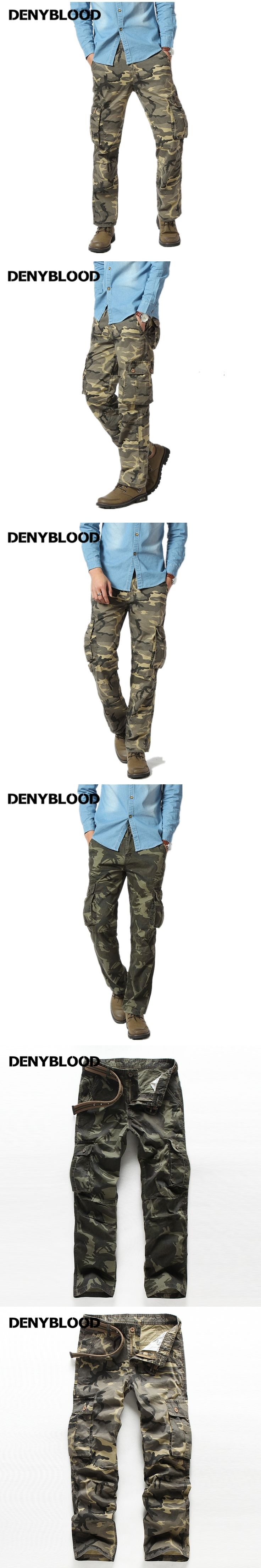 Denyblood Jeans Mens Cargo Pants Army Green Camouflage Chinos Pants Military Working Clothing Casual Pants Trousers 7908