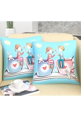 This Valentine's day, make your beloved feel special by gifting him/her this 2-piece set of multicoloured cushion covers from Mesleep.  Cute and trendy, these cushion covers look very adorable.  Made from microfibre fabric, these cushion covers will certainly hold a special place in your beloved's heart. Product colour may slightly vary. Any item shown in the image, apart from the product/package content is for display purpose only.