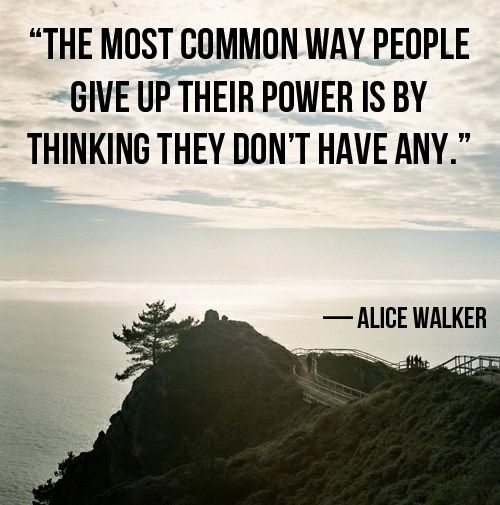 The most common way people give up their power is by thinking they don't have any - Alice Walker