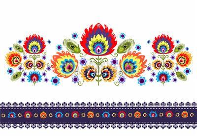 Zdjęcie wzór ludowy z kwiatami | Fototapety | Dekoracje Na Wymiar