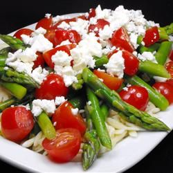 Asparagus, Feta and Couscous Salad; used fresh mozzarella instead of feta; cooked asparagus on stove with oil & garlic