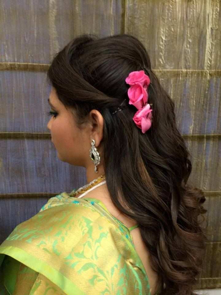 Indian brideu0027s bridal reception hairstyle by Swank