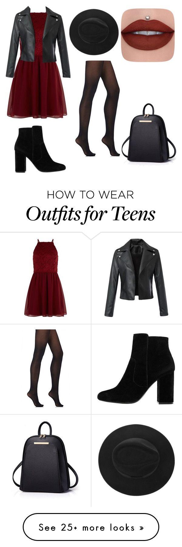 Vestido vinho + meia-calça + botinha + jaqueta de couro + chapeu preto