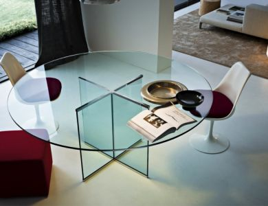 Large Contemporary Minimal Glass Dining Table Available In A Variety Of  Diameters, Made In Transparent Glass With Stylish Crossed Base And Chromed  Brass ... Great Ideas