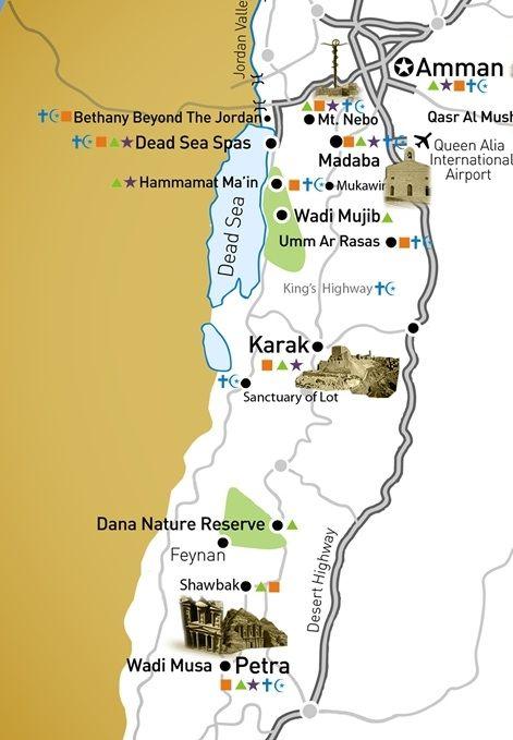 carte jordanie zoom amman petra