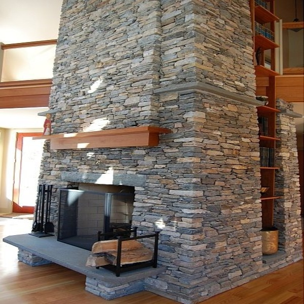 Modern Stone Veneer Fireplace New England Fieldstone