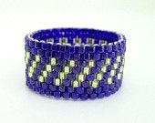 Peyote Ring in Blue Gold  Beaded Band Seed Bead Size 8