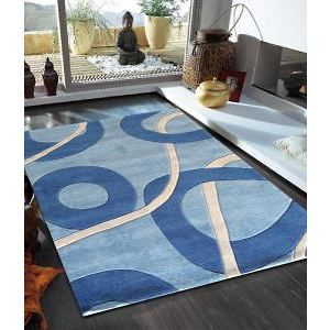 Funky Abstract Modern Rug in Blue Tones 320x230cm