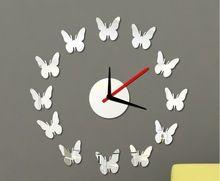 Nuovo 2015 specchio della farfalla diy orologio da parete design moderno orologio da parete adesivo decorazione della casa soggiorno relogio de parede(China (Mainland))