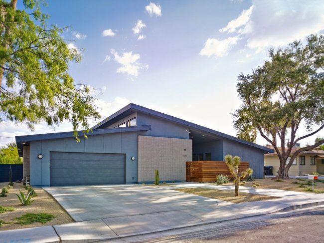 Современный дом в Лас-Вегасе стиля минимализм с большой территорией. Просторный гараж с прямым заездом для удобства использования