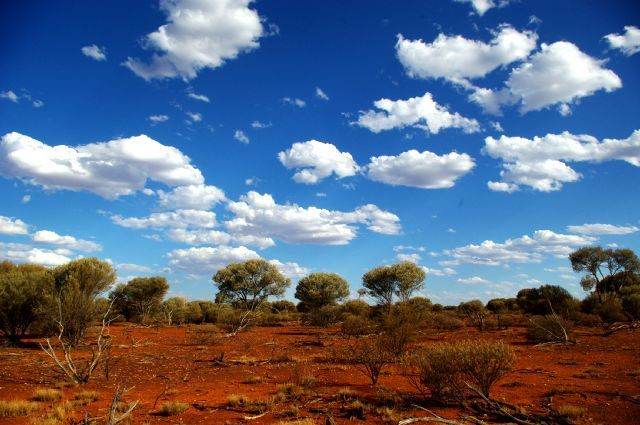 Red earth and blue sky!