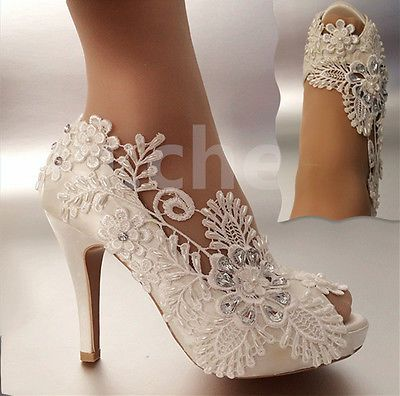 Details about su.cheny 3″ 4″ heel satin white ivory lace pearls open toe Wedding bridal shoes