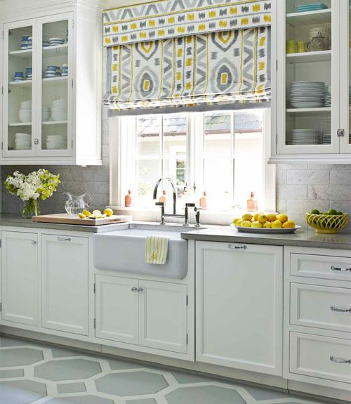 kitchen-yellow & grayCabinets, Ideas, Romans Shades, Floors, Colors, Farmhouse Sinks, Roman Shades, Windows Treatments, White Kitchens