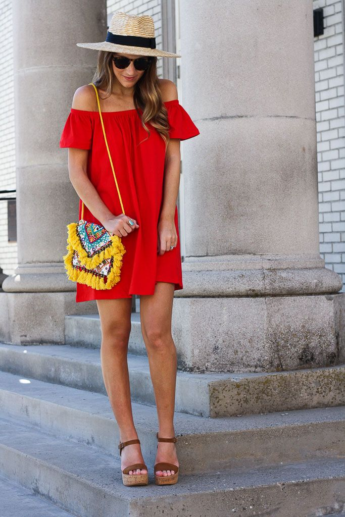 Little Red Off the Shoulder Dress | Twenties Girl Style