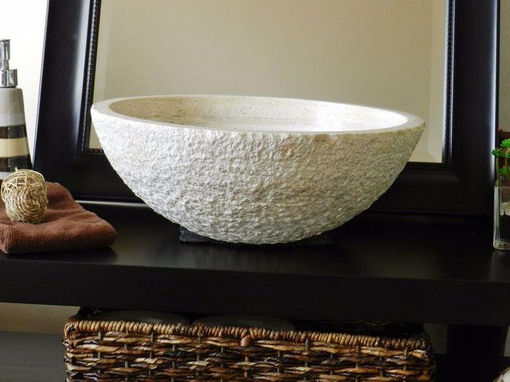 chiseled round travertine vessel stone sink bathroom vanity wash basin