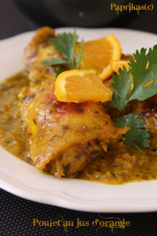 POULET A L'ORANGE (poulet, ail, pistils de safran, oignons, coriandre hachée, huile d'arachide, beurre, curcuma, gingembre, sel/poivre blanc, jus d'orange 100% jus)