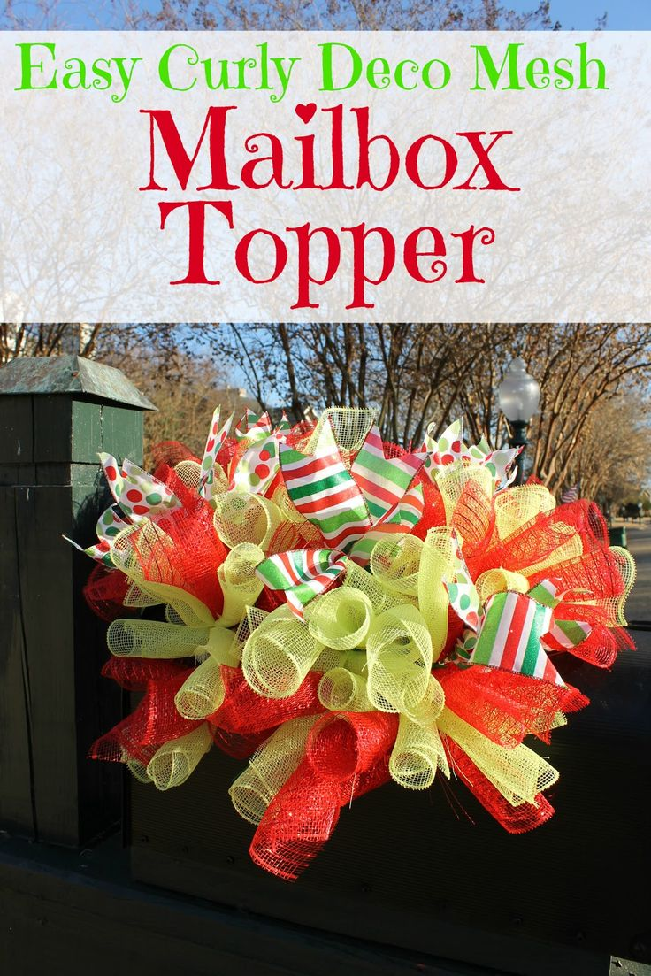 """Miss Kopy Kat blog: Curly Deco Mesh Mailbox Topper made with 10"""" wide deco mesh ribbon.  Could be made with different colors/ribbon for other occasions and holidays"""