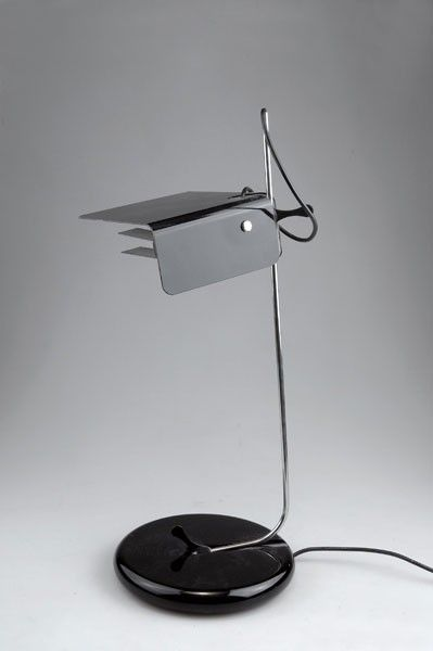 Joe Colombo; Chromed and Enameled Metal 'Anubis' Table Lamp for Forma e Funzione, 1969.