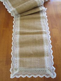 This is a gorgeous table runner to suit a country, vintage or shabby chic wedding theme.  Hessian Lace table runner (30cm by 270cm)