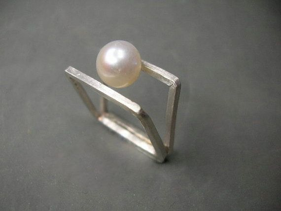 square sterling silver double ring with white by maroulina on Etsy, $75.00