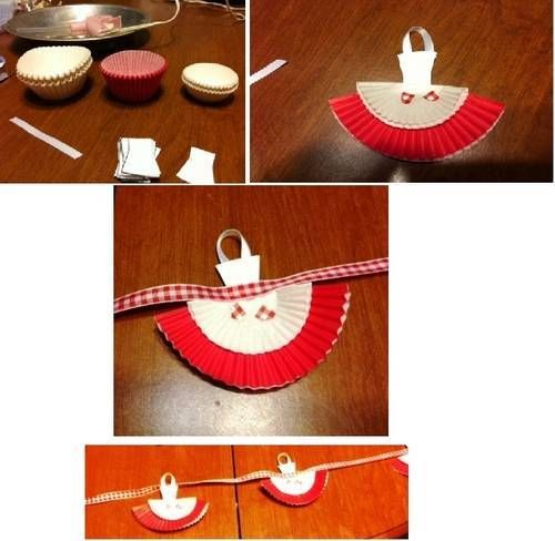 Apron garland made from cupcake liners. by smatty7 on craftster.org - cute for kitchen bridal shower!