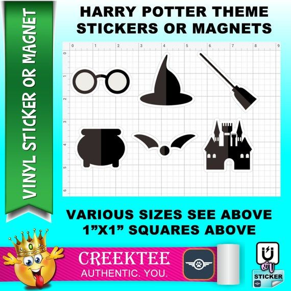 6 Harry Potter Themed Vinyl Stickers Laminate Uv Laminate Or Magnet By Creektee In 2020 Vinyl Sticker Bumper Magnets Bumper Stickers