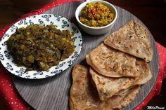Menu indien : parathas, caviar d'aubergines et purée de lentilles épicée