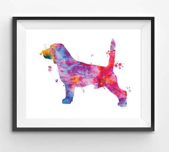 Colorful Beagle Watercolor Print Dog Print Dog Digital