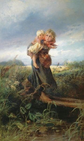 Children Running from a Thunderstorm by Konstantin Makovsky (1839 - 1915)