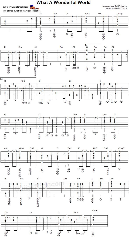 What A Wonderful World - fingerstyle guitar tablature