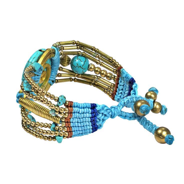 Artsy Blue Turquoise Macrame Handmade Brass Bracelet (Thailand) | Overstock.com Shopping - The Best Deals on Bracelets