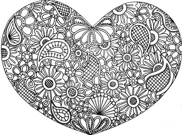 kleurplaat hart zentangles mandalas swirls celtic