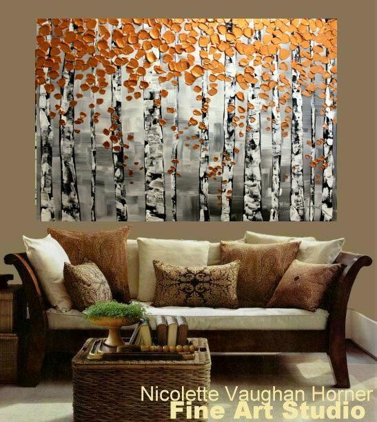 HUGE Birch Trees Oil Landscape Abstract Original Modern palette knife oil impasto oil painting by Nicolette Vaughan Horner