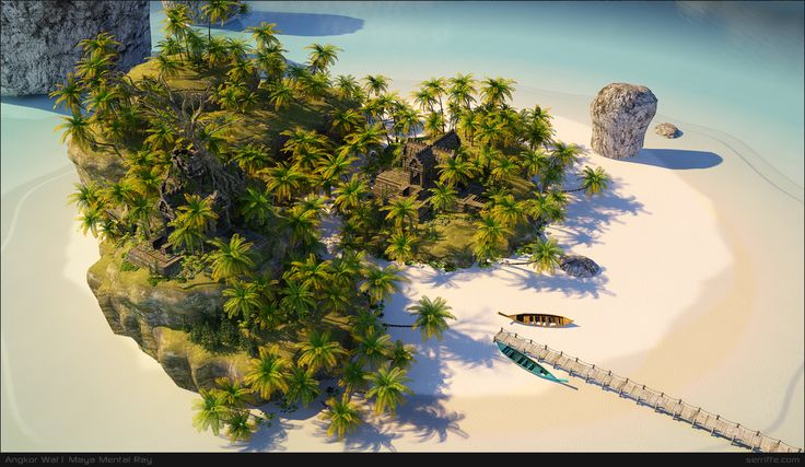 I made an Island! this is for a 3D study for shading and creating assets for vegetation.