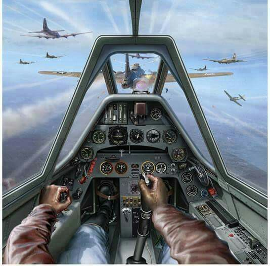 View from inside a German pilot's cockpit as he attacks a formation of American B-17's.  (artist unknown)