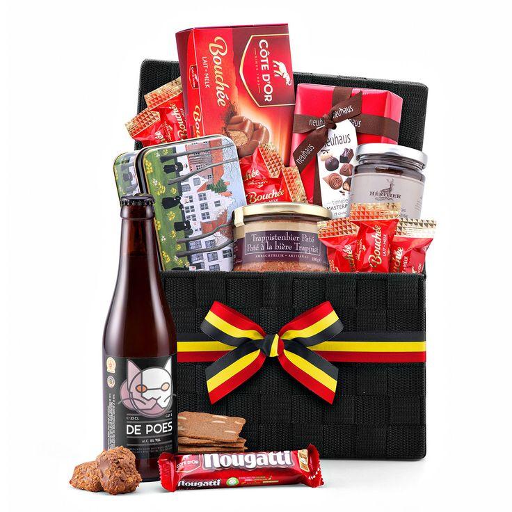 Belgische geschenkmand met Belgische Chocolade en Poes Bier