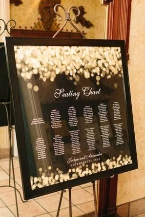 If your wedding's theme is more about a specific detail, find a way to hint to it on your seating chart. This sparkly sign would work well for a modern wedding underneath a bunch of string lights or ones that used a lot of gold glitter in its decor.