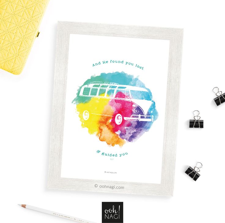 VW, minibus, rainbow, colourful, colorful, quran, 93:7, Islamic, contemporary, modern, art, print, wall art, watercolor, watercolour, handmade, handdrawn, digital, happy, quirky